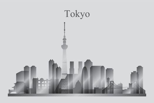 Tokyo city skyline silhouette in grayscale