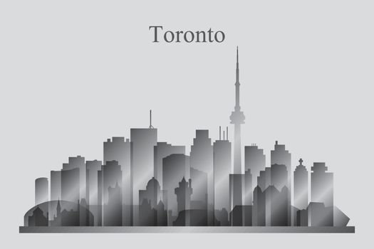 Toronto city skyline silhouette in grayscale
