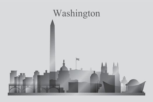 Washington city skyline silhouette in grayscale