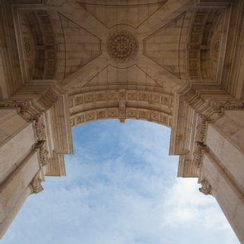 The Rua Augusta Arch in Lisbon. Here are the sculptures made of
