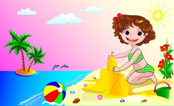 A child playing in the sand on the seashore.