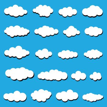 White clouds on a blue background. Abstract white clouds.