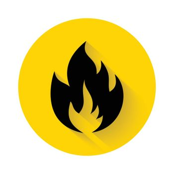 Fire flame flat icon with long shadow isolated on yellow background