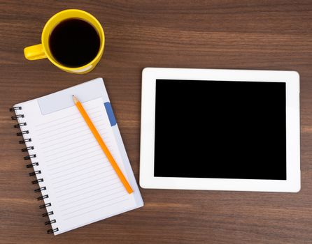 Blank copybook with tablet
