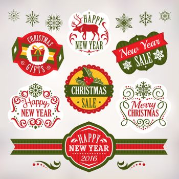 Christmas and New Year decoration elements and labels