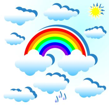 Clouds and rainbow on a blue background.