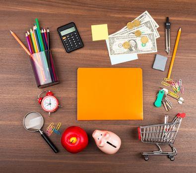 Shopping cart with orange copybook