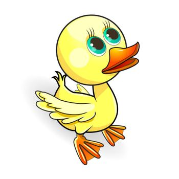 Cartoon small yellow duck on a white background.
