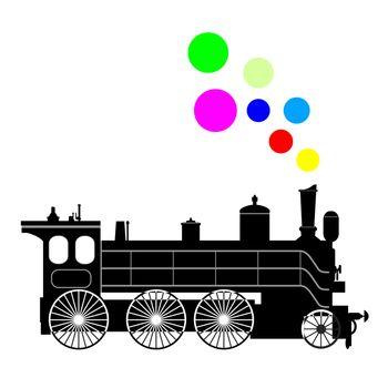 Silhouette black steam locomotive on a white background.