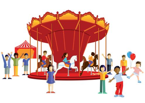 Carousel with kids