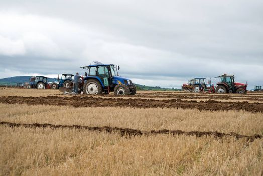 tractors competing in the national ploughing championships in ireland