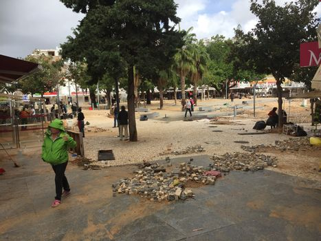 PORTUGAL, Albufeira : The main square of Albufeira, southern Portugal, has been devastated by flash floods, on November 2, 2015. A man aged 79 died during the flooding.