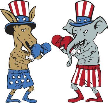 Democrat Donkey Boxer and Republican Elephant Mascot Cartoon