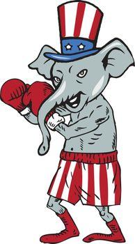 Republican Mascot Elephant Boxer Boxing Cartoon