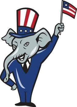 Republican Mascot Elephant Waving US Flag Cartoon