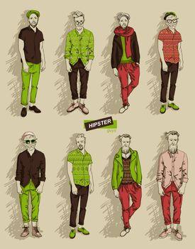 Hipster man in fashion set
