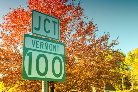 Junction 100 in Vermont. Famous foliage road