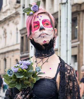 Sao Paulo, Brazil November 11 2015: An unidentified girl in traditional costumes in the annual event Zombie Walk in Sao Paulo Brazil.