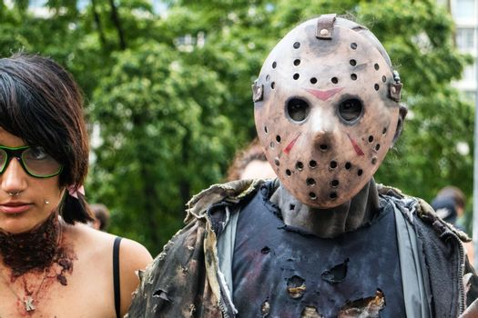 Sao Paulo, Brazil November 11 2015: An unidentified man in costumes of Jason in the annual event Zombie Walk in Sao Paulo Brazil.