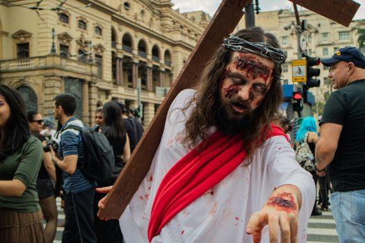 Sao Paulo, Brazil November 11 2015: An unidentified man in costumes like Jesus in the annual event Zombie Walk in Sao Paulo Brazil.