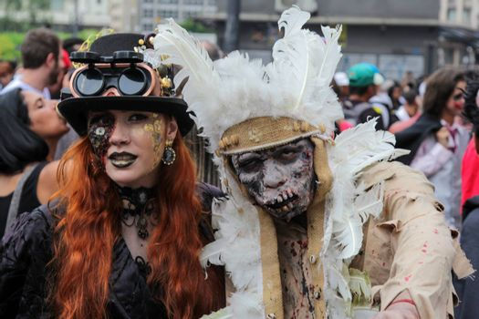 Sao Paulo, Brazil November 11 2015: An unidentified couple in costumes in the annual event Zombie Walk in Sao Paulo Brazil.
