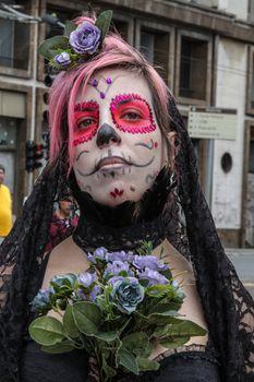 Sao Paulo, Brazil November 11 2015: An unidentified girl in skull costumes in the annual event Zombie Walk in Sao Paulo Brazil.