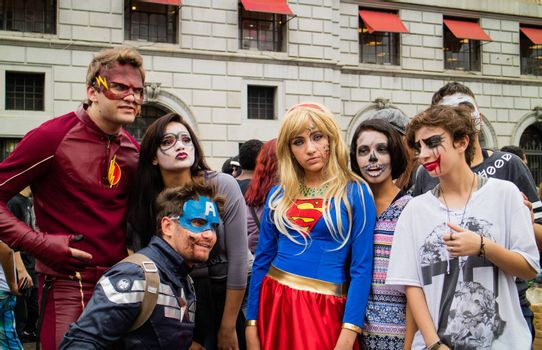 Sao Paulo, Brazil November 11 2015: An unidentified group of people in costumes in the annual event Zombie Walk in Sao Paulo Brazil.