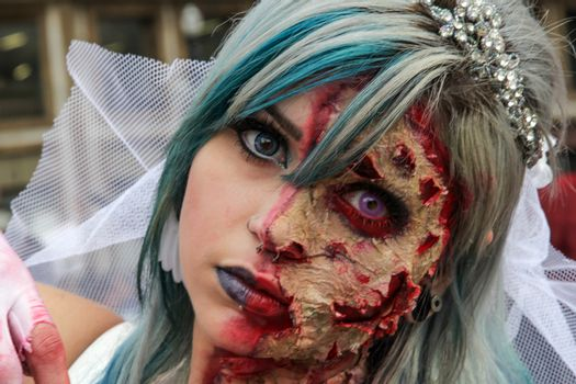 Sao Paulo, Brazil November 11 2015: An unidentified girl in traditional bride costumes in the annual event Zombie Walk in Sao Paulo Brazil.