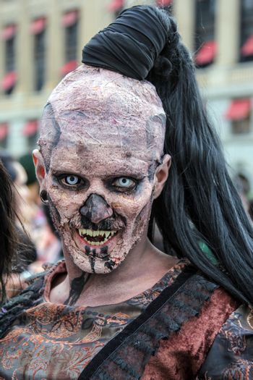 Sao Paulo, Brazil November 11 2015: An unidentified man in costumes in the annual event Zombie Walk in Sao Paulo Brazil.