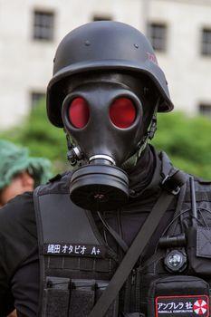 Sao Paulo, Brazil November 11 2015: An unidentified man in police costumes in the annual event Zombie Walk in Sao Paulo Brazil.