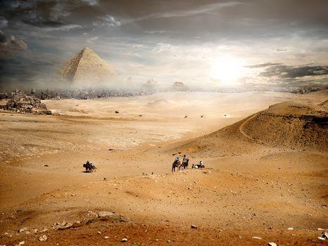 Fog over pyramid