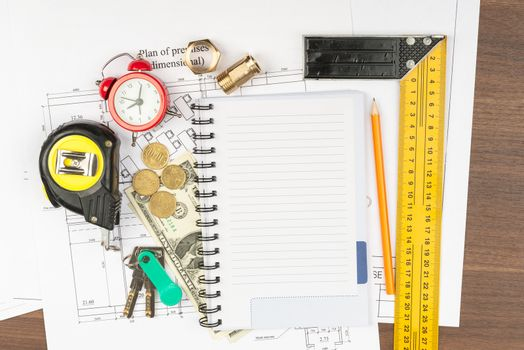 Copybook with drawings on table
