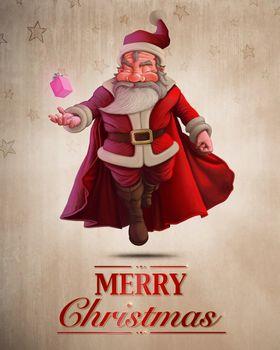 Santa Claus Super Hero greeting card