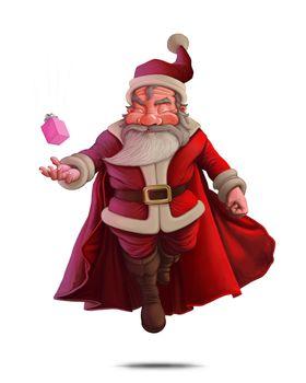 Santa Claus Super Hero - White background