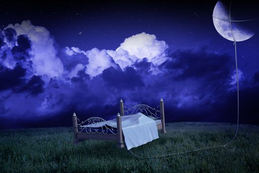 the bed raises to the meadow linked to the moon in the dream
