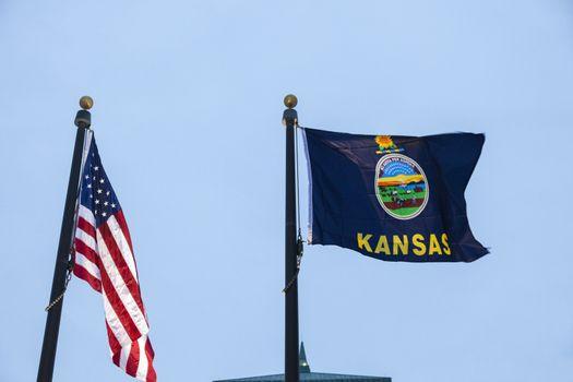 Kansas and US flagsc