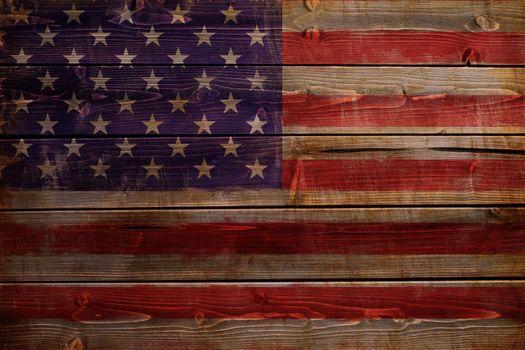 United States of America flag painted on wood aces