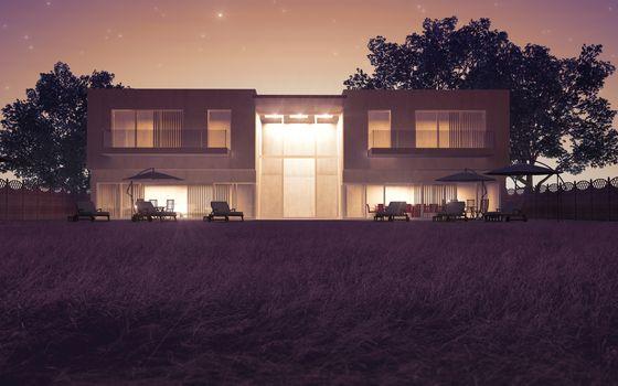 Modern villa night view