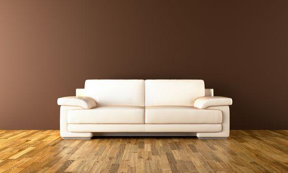 Sofa and parquet floor