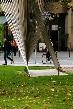 "Frankfurt, Germany - November 07, 2013: A fan-shaped sculpture ""The Olymp of Weimar"" in the Gallusanlage on November 07, 2013 in Frankfurt."