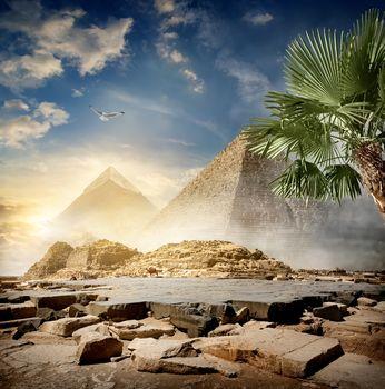 Fog around pyramids