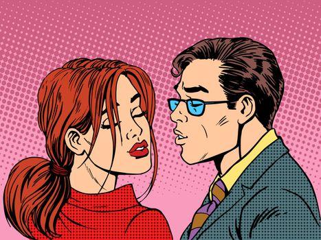 man woman kiss love romance couple pop art retro style