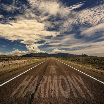 Conceptual Image of Road With the Word Harmony