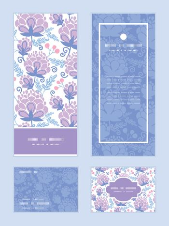 Vector soft purple flowers vertical frame pattern invitation greeting, RSVP and thank you cards set graphic design