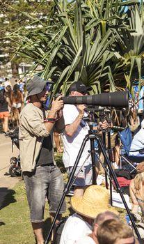 BREAKA BURLEIGH PRO 2013 , GOLD COAST, AUSTRALIA - FEB 3: Unidentified professional photographer shooting at the Burleigh Pro 2013 surfer championship February 3, 2013 , Gold Coast, Australia