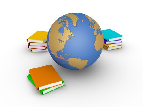 Some books are stacked and the globe is near them
