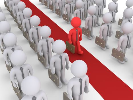 Businessmen are standing in rows but one is walking on a red path