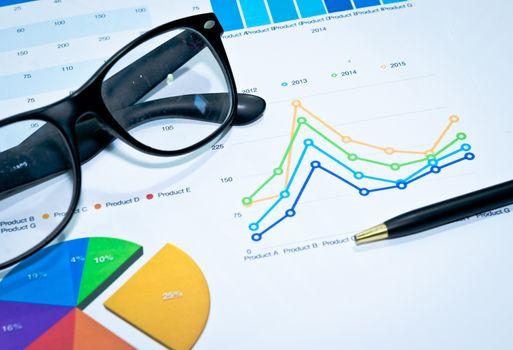 Financial papers, pen supplies closeup
