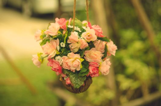 Wedding flowers in the garden.vintage color tone