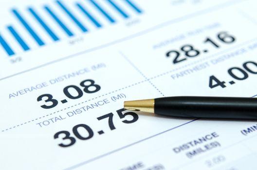 Report on work desk of businessman